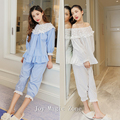 Yomrzl L579 primavera y otoño algodón de las mujeres pijamas set sistema del sueño del o-cuello de manga larga de encaje ropa interior ropa de dormir