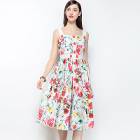 Sun Dress New 2018 Spring Summer Print Floral Dress Sleeveless A Line Brand Runway Women Swing