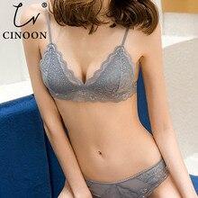 Cinoon 섹시한 레이스 란제리 세트 얇은 통기성 여성 속옷 세트 숙녀 섹시한 3/4 컵 브래지어와 짧은 세트 무선 브래지어 세트
