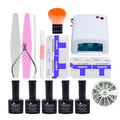 FT-125 Free shipping gel polish set ,36W uv lamp set ,uv gel polish kit , nail art tool set&kit
