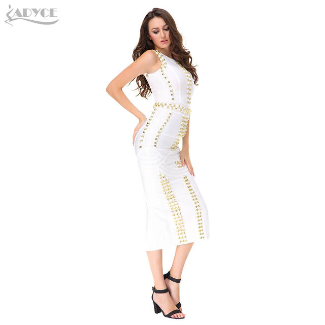 0b02e7fb2b6d Online Shop Women Midi Dress 2018 New Kim Kardashian O-neck Ankle-length  Sexy Sleeveless Beading Celebrity Party Prom Bodycon Maxi Dress