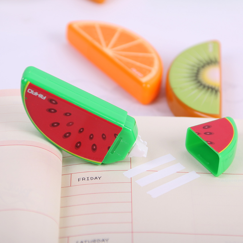 3PCS Cute Fruit Correction Tape Plastic Material Correction Tape Kawaii Stationery Office School Supplies 5mm x 5m deli sweet kawaii cloud shape mini correction tape korean stationery novelty office school supplies kids study tool