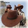 Nuevo 2015 Sun sombrero de cuero de imitación sombrero de vaquero hombres y mujer exterior viajes Caps moda occidental Chapeu de vaquero 9 YY0270