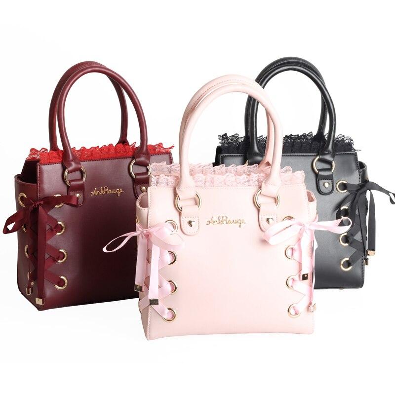 Princess sweet lolita bag Japanese Harajuku soft sister sweet lace bow tie Lolita single shoulder strangle handbag MZSN011 цена 2017
