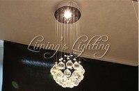 500 ملليمتر قاد الكرة k9 كريستال الثريات الزجاجية الحديثة مصابيح مصباح تركيبات أضواء المطر قطرة شنقا سلك الفاخرة فندق المنزل الإضاءة