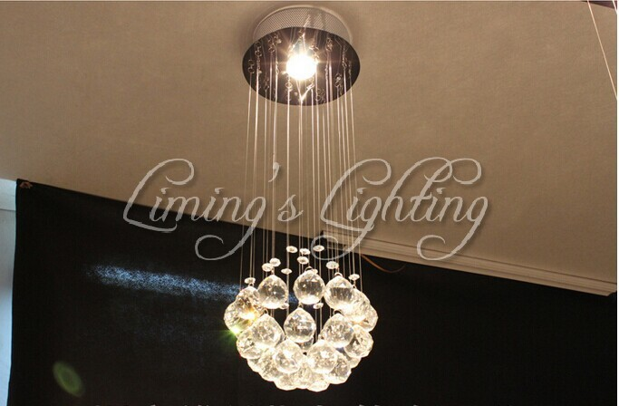 500MM Modern LED Ball K9 Crystal Glass Chandeliers Lamps Luxury Bulb Fixture Rain Drop Lights Hanging Wire Home Hotel Lighting