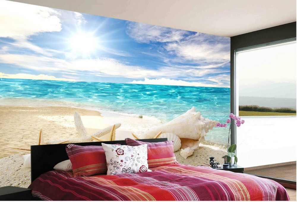 Custom 3d photo wall paper Blue Ocean Beach TV backdrop Landscape wallpaper murals Home Decoration