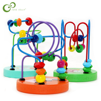 Boys Girls Montessori Wooden Toys Wooden Circles Bead Wire Maze Roller Coaster Educational Wood Puzzles Kid Toy GYH