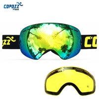 COPOZZ Ski Goggles UA400 Double Lens Anti Fog Sun Glasses Skiing Snowboard Goggles Spherical Winter Women
