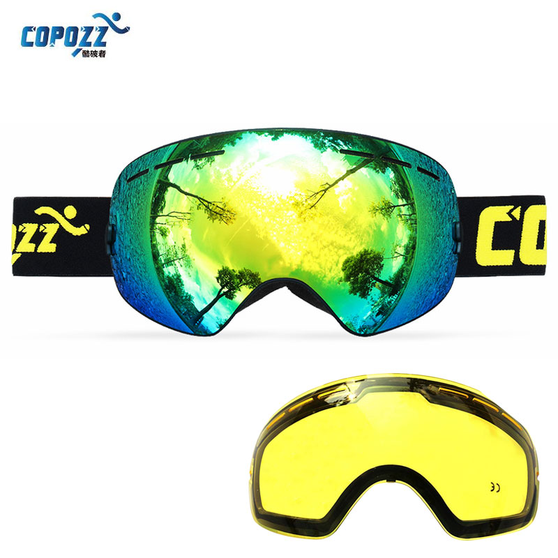 COPOZZ Ski Goggles UA400 Double Lens Anti-fog Sun Glasses Skiing Snowboard Goggles Spherical Winter Women Men +Lens
