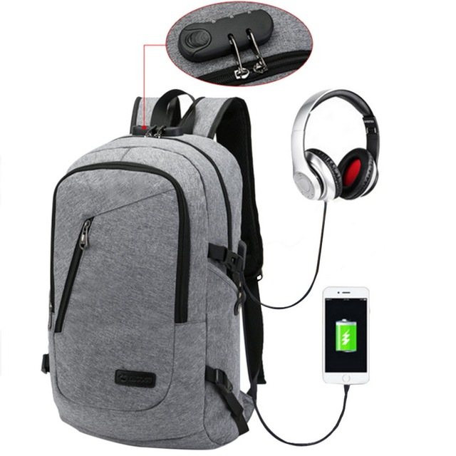 5c2452ca8b Anti Theft Business Waterproof Laptop Backpack With USB Charging Port Men  Women Travel School Bag Smart Casual Shoulder bag 2018-in Backpacks from  Luggage ...