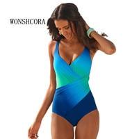 Hot Gradient Swimwear Sexy Women Beach Dress Swimsuit Large Monokini Plus Size Summer Swimmer Bikini Set 2018 Women'S Swimsuits