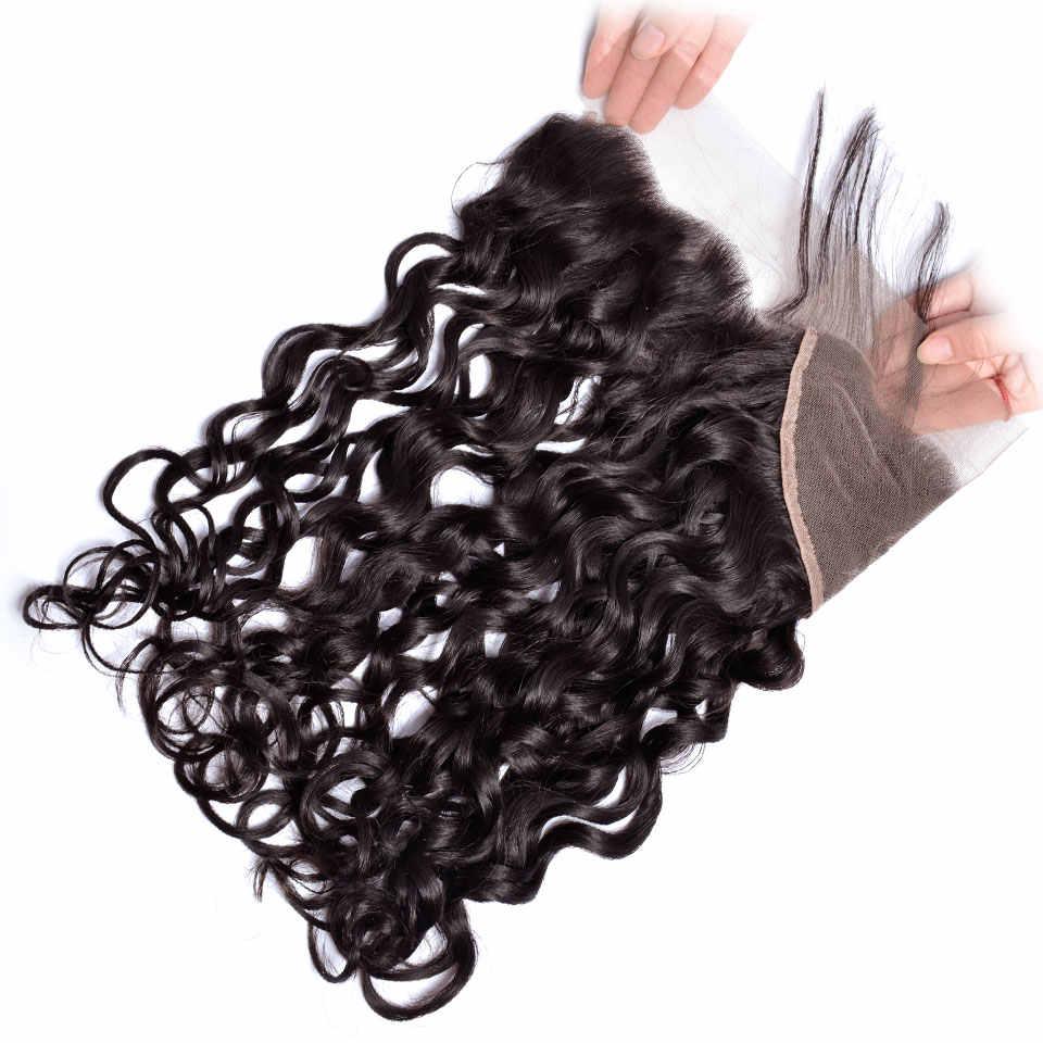 Iwish волосы перуанская волна Кружева Фронтальная Закрытие Remy человеческих волос Расширение уха до уха 13x4 натуральный цвет можно окрашивать