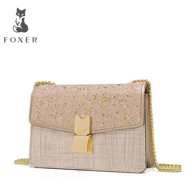 FOXER luxury fashion Messenger bag female 2018 new star small square package fashion wild shoulder bag lock chain bag bag female 2018 new fashion sequins convenient bread bag chain small square bag shoulder slung dinner bag