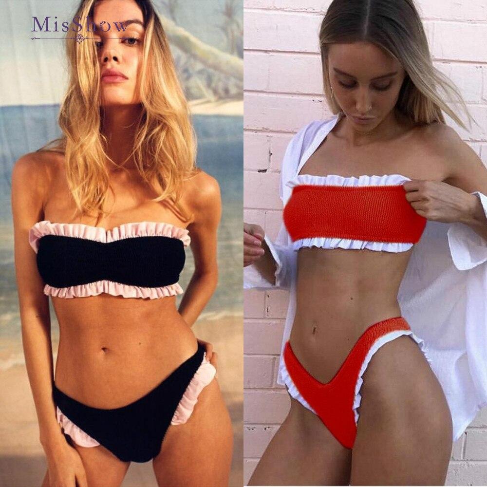 Bikinis 2019 Mujer Ruffle Bikini Brazilian Women Swimsuit High Leg Bikini Bandeau Sexy Thong Bikini Set