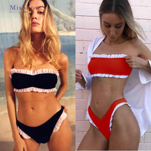 Bikinis 2019 Mujer Ruffle Bikini Brazilian Women Swimsuit High Leg Bandeau Sexy Thong Set Bathing Suit