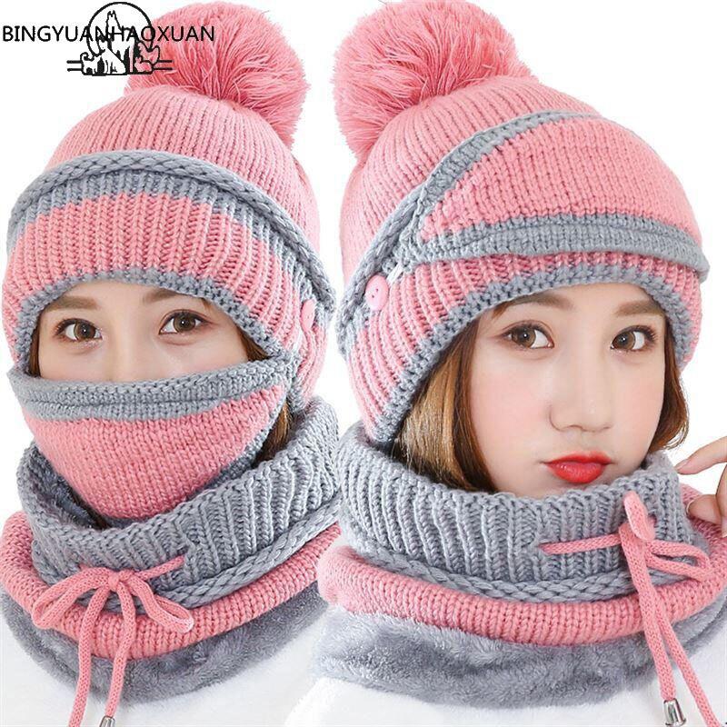 BINGYUANHAOXUAN Frauen Schal Winter Sets Kappe Maske Kragen Gesicht Schutz Mädchen Zubehör Frauen Ball Schal Balaclava Gestrickte Hut