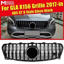 For MercedesMB GLA X156 Sport grille grill GTS style ABS Black GLA180 200 250 GLA45 Look Front Bumper Grills Without Sign 17-in for 02 05 dodge ram black sport billet front hood bumper grill grille frame abs usa domestic free shipping hot selling