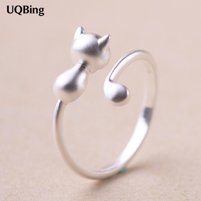 2016 Free Shipping 925 Sterling Silver Cat Rings For Women Jewelry Beautiful Fin