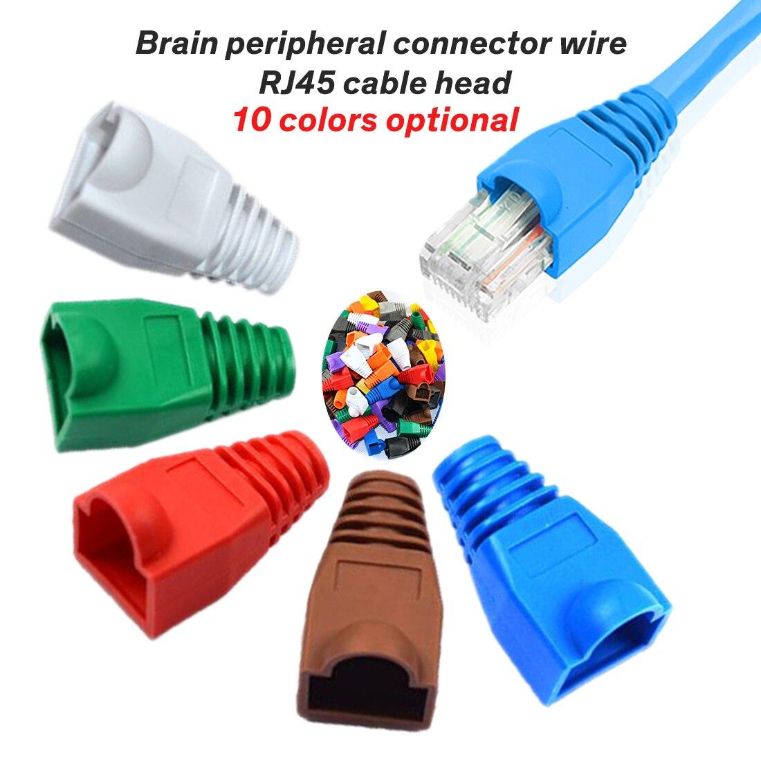 20pcs Colorful RJ-45 Adapter Cap 0.6mm For Ethernet Network Cable Connector Plugs RJ45 Cat5 CAT6 Cover Cap Socket Boots Cap Head