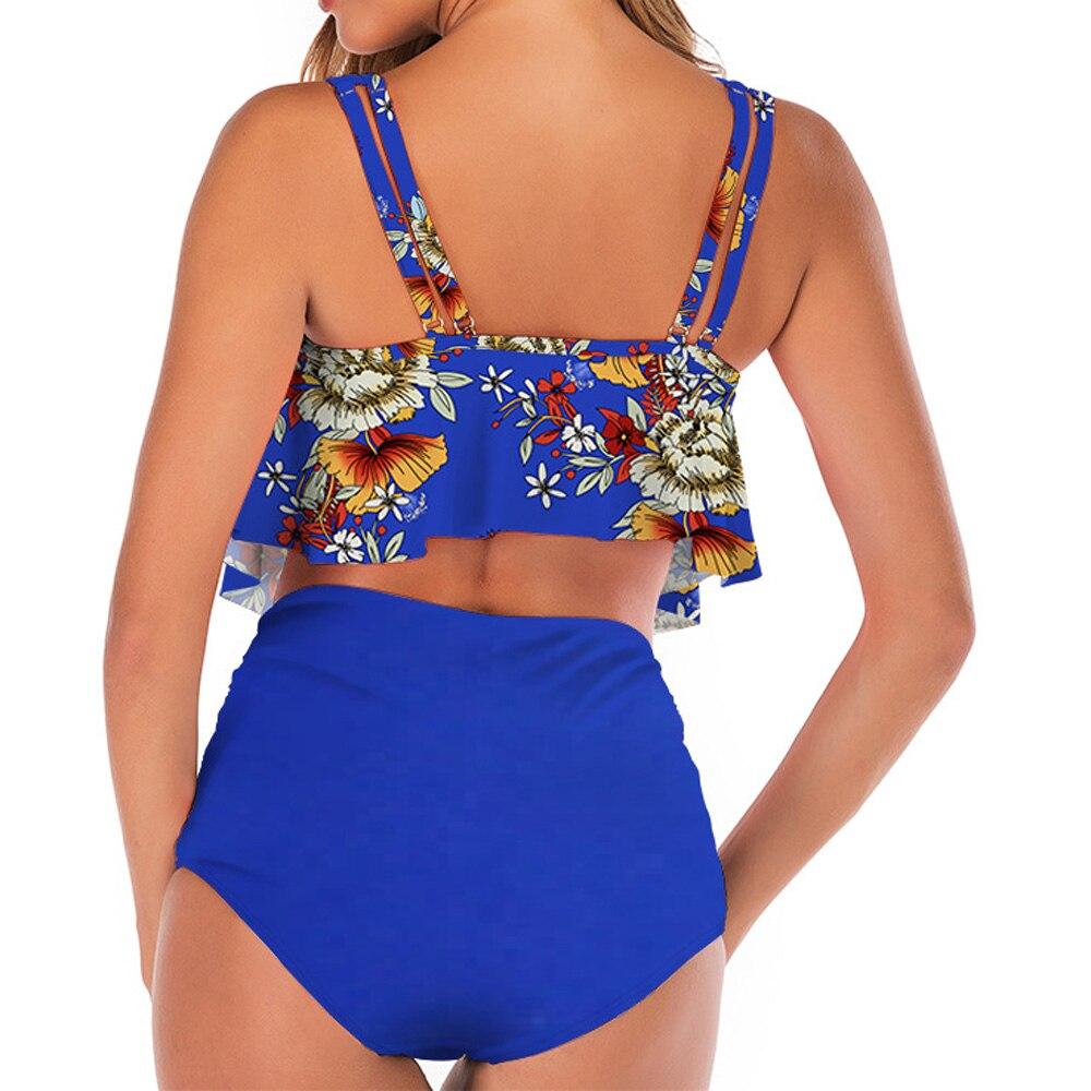 Ruffle Bikini Women 2019 Push Up Biquini Ruched High Waist Swimsuit Female Bathing Suit Plus Size Swimwear Flamingos Beach Wear in Bikinis Set from Sports Entertainment
