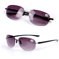 Frameless Reading Sunglasses Women Men Watch Eyewear Presbyopic Bifocal Glasses Diopter Rimless Oculos Eyeglasses Magnifier