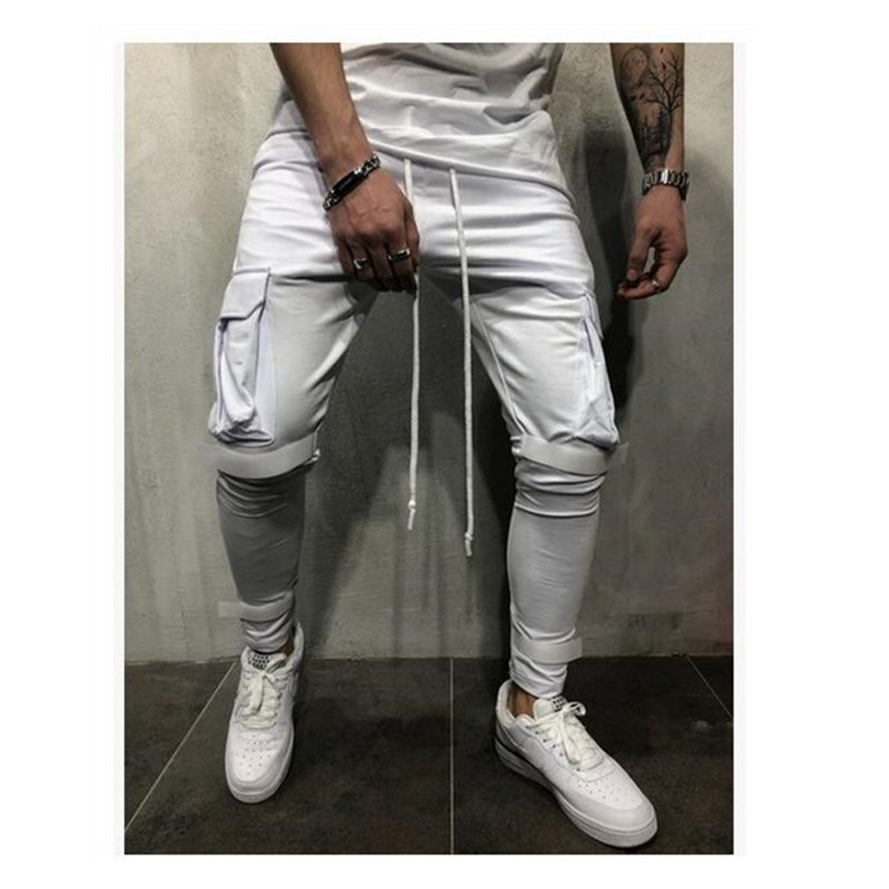 Men's Casual Jogging Pants With Suspenders Solid Multi-pocket Sweatpants Fall 2019 Hip Hip Sweatpants
