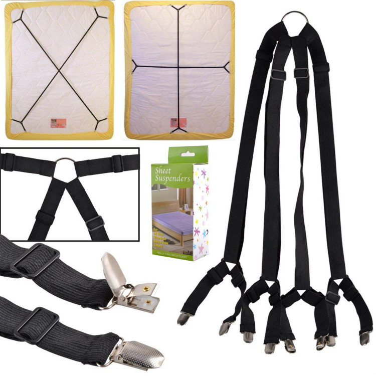 Bed Sheet Suspenders Adjustable Crisscross Fitted Sheet Bed Straps Corner Holder Grippers Bands Fasteners Mattress Pad Cover