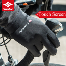 цена на SANTIC Bike Bicycle Windproof Gloves Autumn Winter Fleece Warm Full Finger Touch Screen Cycling Gloves Outdoor Sports Equipment