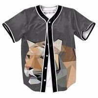 Abstract Tiger Cool Sport Baseball Jerseys New Hip Hop Streetwear US Size Buttons Homme 3D Shirt