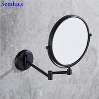 Senducs Black Bathroom Mirror 8 Inch Brass Bath Mirror 3x Magnifying Bathroom Mirrors For Fashion Inwall Bath Cosmetic Mirror