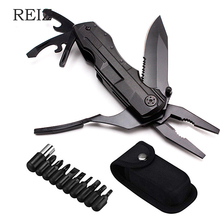 REIZ Multitool Folding Pocket Pliers Outdoor Camping Survive Multi functional Pliers Screwdriver Kit Bits Knife Bottle Opener