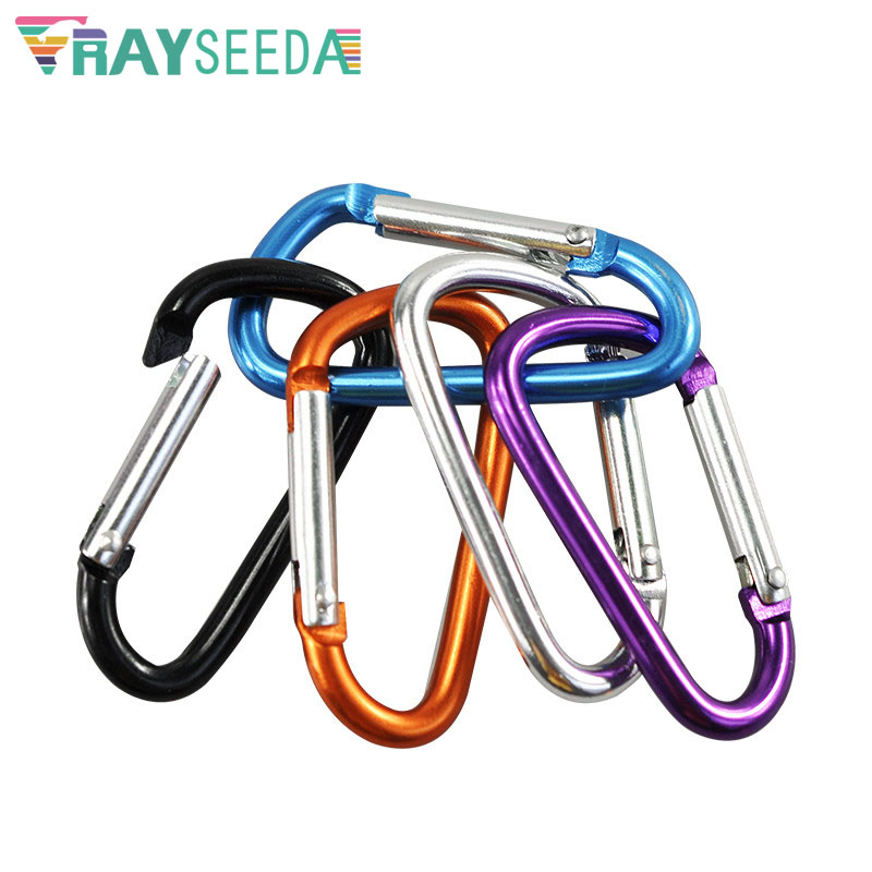 Rayseeda 3pieces 7# 60MM D Shape Climbing Carabiners Outdoor Aluminium Alloy Mountaineering Carabiner Hooks For Keys Waterbottle