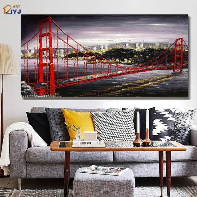 Golden Gate Bridge Picture Red Color Handmade Modern Abstract Canvas Oil Painting Wall Art For Living Room Decoration Sl037