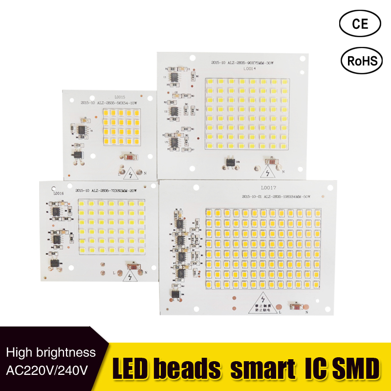 LED Lamps SMD Chip Beads Smart IC 220V Input 10W 20W 30W 50W For Outdoor FloodLight Cold White/Warm White