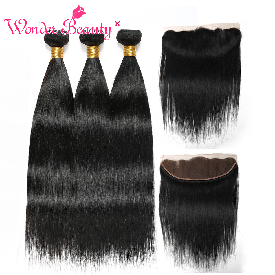 Straight Hair Bundles With Frontal Wonder Beauty Peruvian Human Hair Bundles With Closure Non Remy 13x4