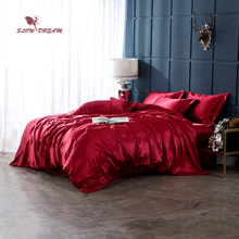 SlowDream Solid Color Wine Red Luxury Bedding Set Flat Sheet Pillowcase Double Queen Bedspread Bedclothes Adult Duvet Cover