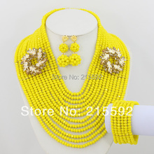 Free Shipping!Luxury Yellow Necklace Crystal Beads Jewelry Set African Costume Jewelry Set 2014 New Design AJS016