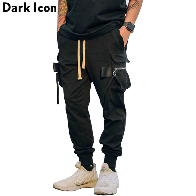 e1aba68497 Bolsillos Laterales DARKICON hombres Harem Pantalones Largos 2017 Otoño  Cintura Elástica Con Cordón Pantalones Cargo Pantalones