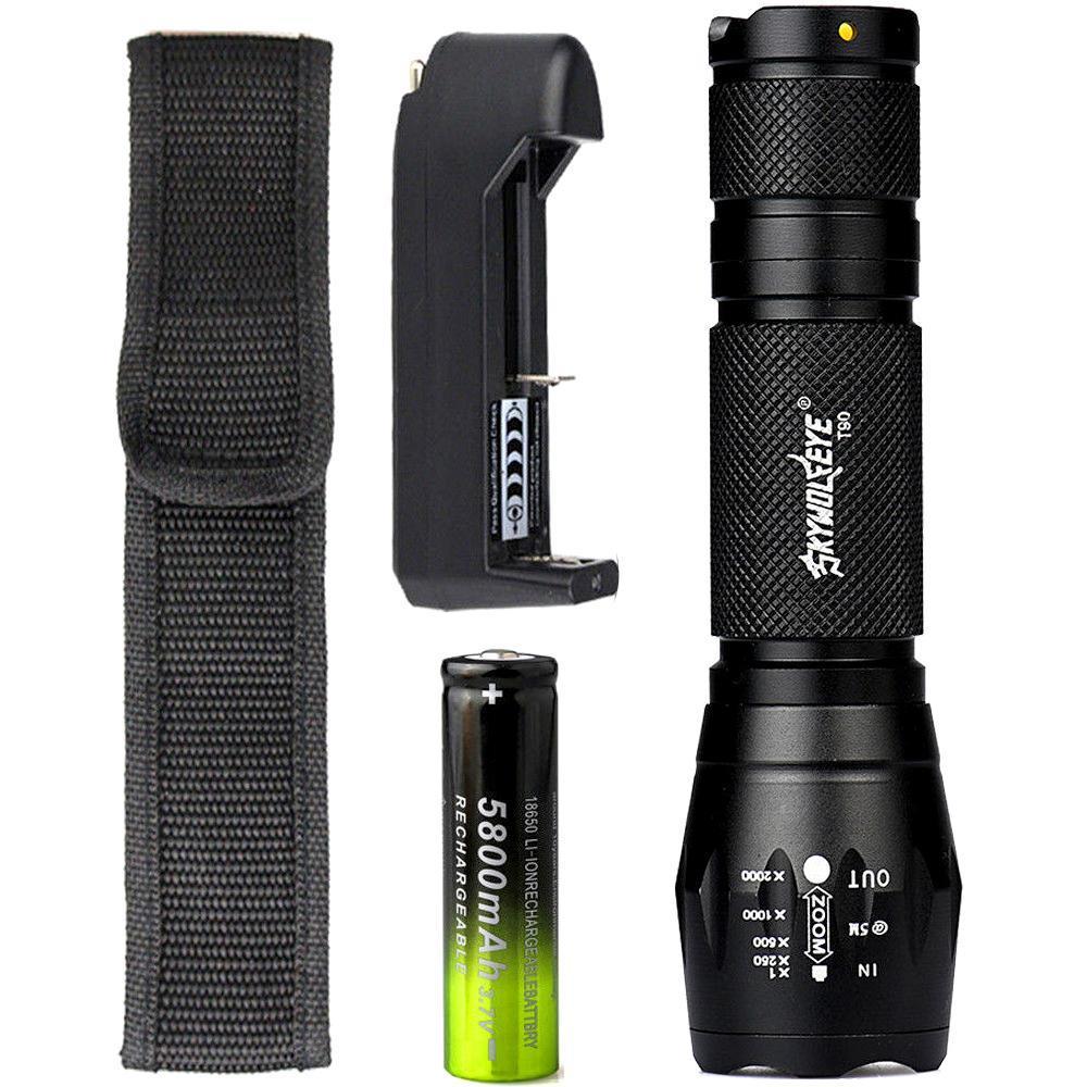 SKYWOLFEYETactical T6 LED Flashlight 18650 Battery Adjustable Focus Lantern 5 Modes Torch Waterproof Lamp+3.7V Charger
