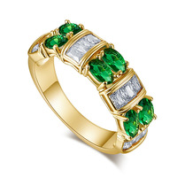 Lingmei Wholesale Wedding Band Marquise Cut Green CZ Women Jewelry White Gold Color Ring Size 6
