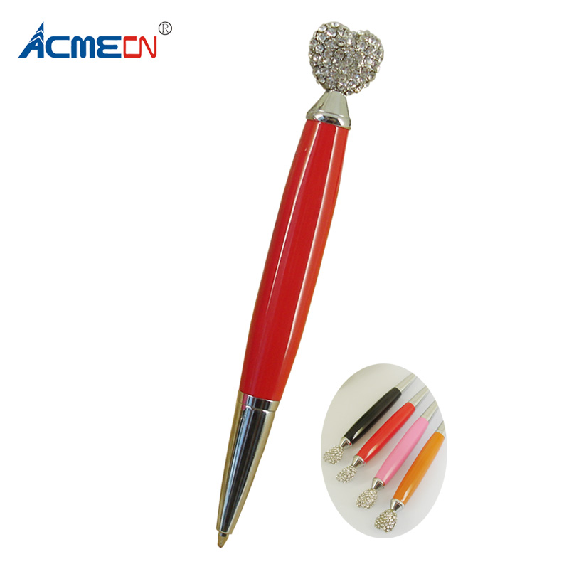 ACMECN Heart Shaped Crystal BallPoint Pen Novelty Design for Womens Gifts Retractable Mini Pocket size Korea style Metal Pens