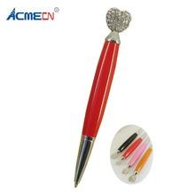 ACMECN Heart Shaped Crystal BallPoint Pen Novelty Design for Womens Gifts Retractable Mini Pocket size Korea style Metal Pens