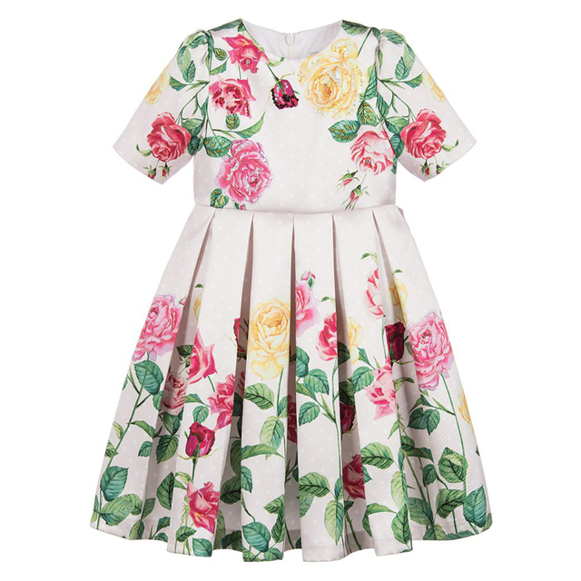 Girls' Cute Floral Polyester Dress