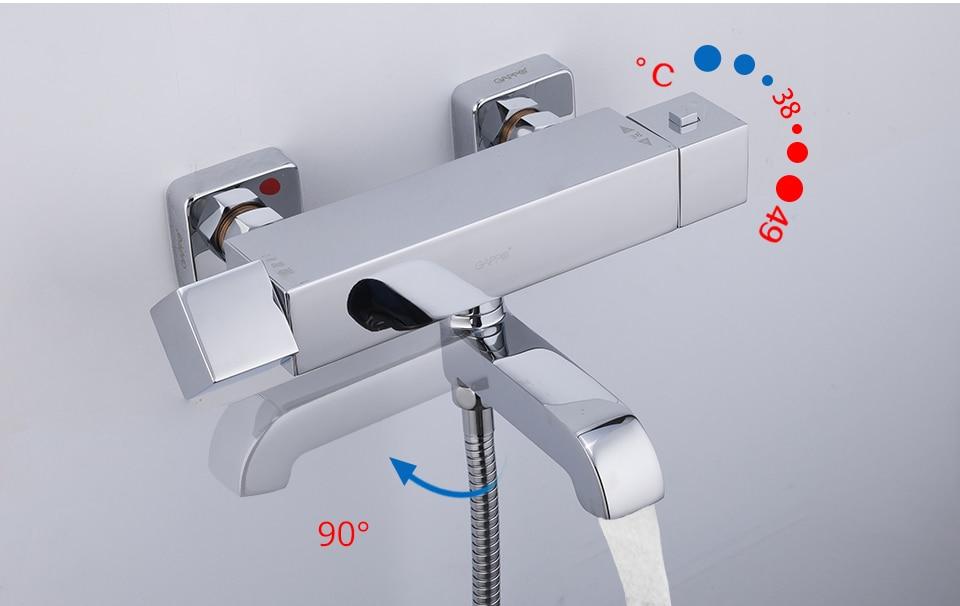 termostato fixado na parede do chuveiro torneira