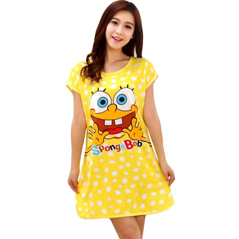 Girl Lady Dress Women 2016 Summer Dresses Casual Plus Size Spongebob Summer Dress Beach Girls Pajamas Sleepwear Nightwear 200Z