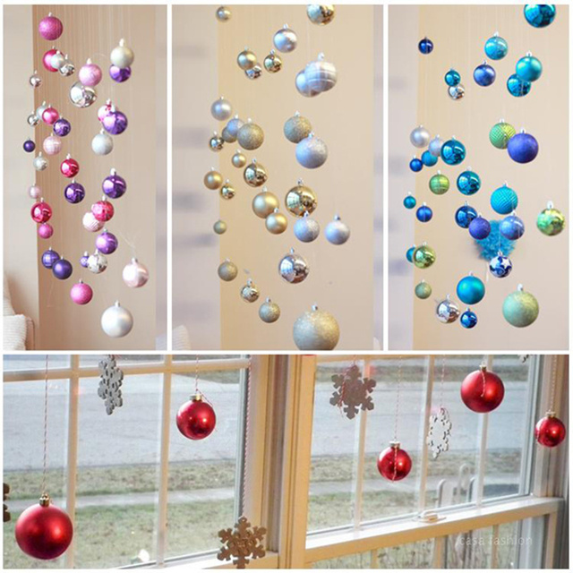 15pcs Colorful DIY decorating christmas balls Hanging Ornament charm Ball  Bauble Hanging Xmas Event & Party
