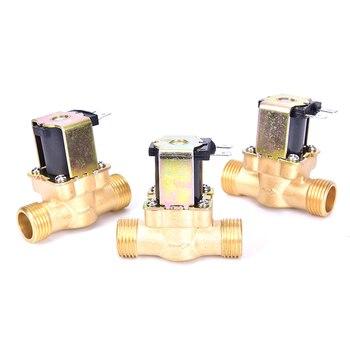 Válvula de solenoide de 1/2 pulgadas, válvula de agua AC 220 V, válvula eléctrica de latón normalmente cerrado