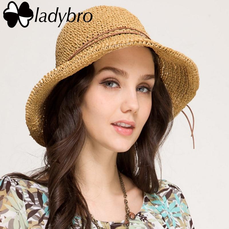 Ladybro Марка женская шляпа от солнца для женщин с бантом из соломенной рафии складная летняя шляпа с широкими полями пляжная шляпа женский Chapeau Femme