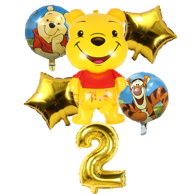 6 Pcs/lot Winnie the Pooh Balloons Tiger Foil Happy birthday decorations Piglet air balls decoration Children toys